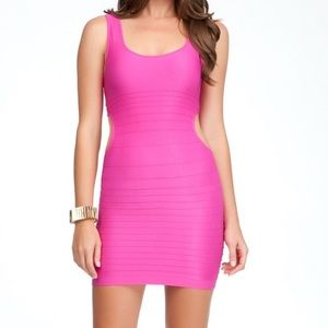 BEBE - Hot pink bandage dress with side cutouts